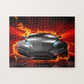 Auto auf Feuer 11x14 Puzzle