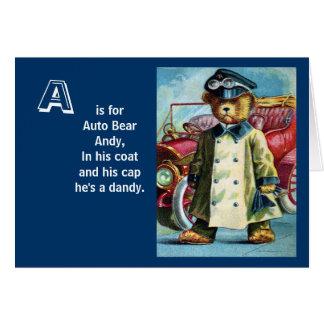 Auto-Bär Andy - beschriften Sie A - Vintager Grußkarte