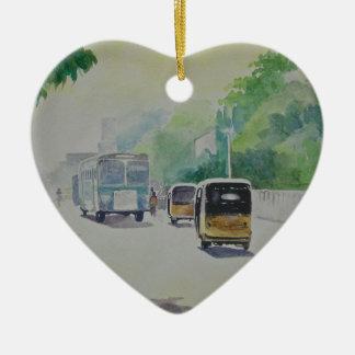 Auto - indisches Taxi Keramik Herz-Ornament