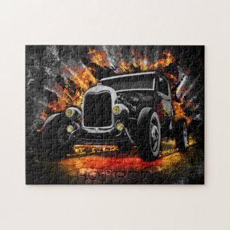 Auto-u. Flammen-Foto-Puzzlespiel mit Geschenkboxen Puzzle
