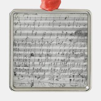 Autographischer Spielberichtsbogen für den Quadratisches Silberfarbenes Ornament