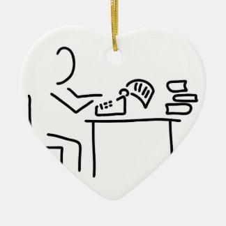 autor schriftsteller schreibmaschine keramik Herz-Ornament