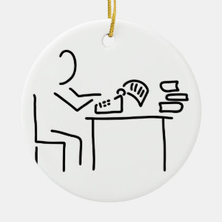 autor schriftsteller schreibmaschine rundes keramik ornament