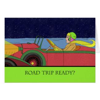 Autoreise bereit? Dame im Vintagen Auto Karte