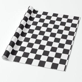 Autorennen-/Schach-Muster + Ihr backgr. u. Text Geschenkpapier