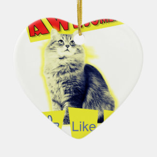 awesomeness Katze Keramik Herz-Ornament