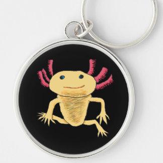 Axolotl Silberfarbener Runder Schlüsselanhänger