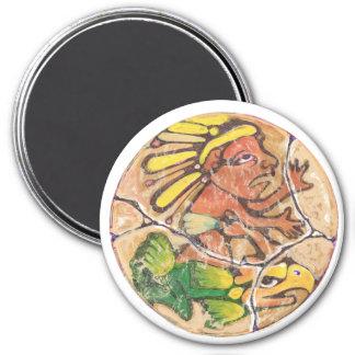 Aztekische Gottfarbe - fantastischer Mexiko-Magnet Runder Magnet 7,6 Cm