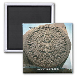 """Aztekischer """"Sun-Kalender,"""" Mexiko City Quadratischer Magnet"""