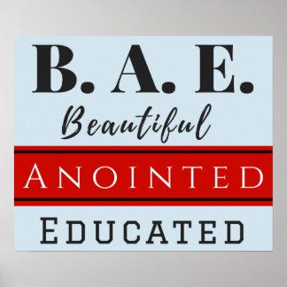 B.A.E. Schönes gesalbtes gebildetes Plakat