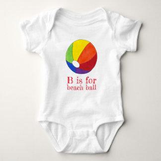 B ist für Wasserball-Regenbogen Beachball Ferien Baby Strampler