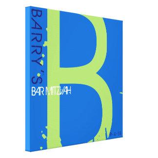 B-Monogramm-Initialen-Bar-Schläger Mitzvah Leinwanddruck