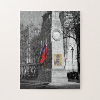 B/W abgetöntes Kriegs-Denkmal-London-Puzzlespiel Puzzle