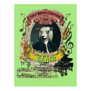 Baach lustige Schaf-großer Tierkomponist Bach Postkarte