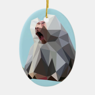 baboon polygon ovales keramik ornament