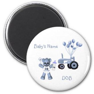 Baby-Blau-Bär und blauer Traktor-Magnet Runder Magnet 5,7 Cm