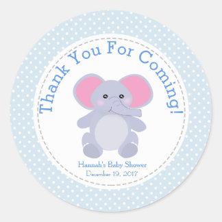 Baby-Blau-Elefant-Baby-Duschen-Party danken Ihnen Runder Aufkleber