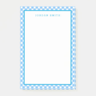 Baby-Blau-Gingham mit Grenze Post-it Klebezettel