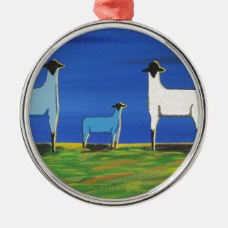 Baby-Blau Rundes Silberfarbenes Ornament