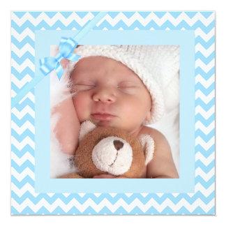 Baby-blaue gestreifte Geburts-Mitteilung Quadratische 13,3 Cm Einladungskarte
