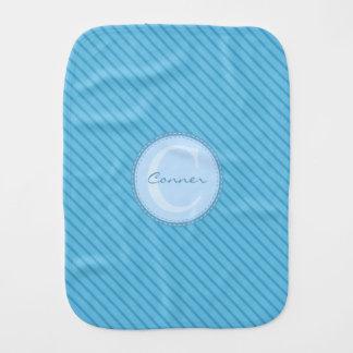 Baby-blaue Streifen-Gewohnheits-Monogramm Spucktuch