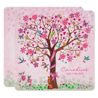 Baby-Blumen-Baum Geburts-Mitteilungs-des Mädchens Quadratische 13,3 Cm Einladungskarte