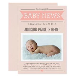 Baby der Nachrichtenen-Geburts-Mitteilungs-  12,7 X 17,8 Cm Einladungskarte