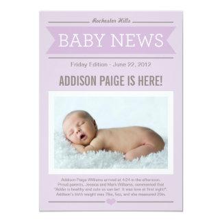 Baby der Nachrichtenen-Geburts-Mitteilungs-| 12,7 X 17,8 Cm Einladungskarte