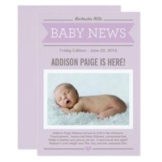 Baby der Nachrichtenen-Geburts-Mitteilungs-| Karte