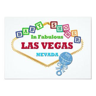 Baby-Dusche im Las Vegas-Karten-blauen Geklapper 12,7 X 17,8 Cm Einladungskarte