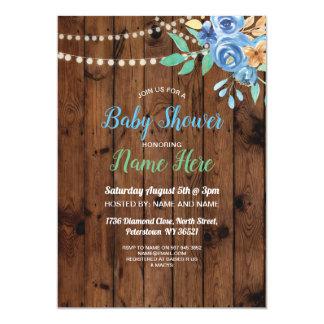 Baby-Dusche laden blaues Blumen-Party-Aqua-Holz Karte