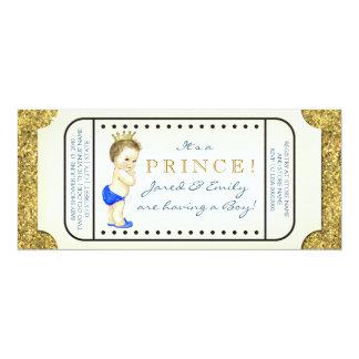Baby-Dusche Prinz-Vintage Ticket 10,2 X 23,5 Cm Einladungskarte