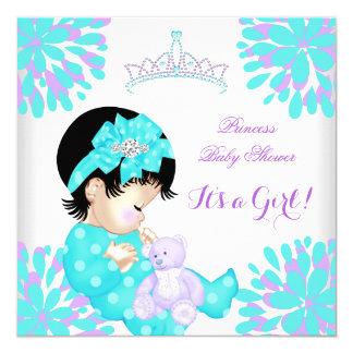 Baby-Duschen-Mädchen-süßes Baby-aquamariner lila Quadratische 13,3 Cm Einladungskarte