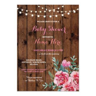 Baby-Duschen-Party-hölzerne Blumen-Blumenrosa Karte