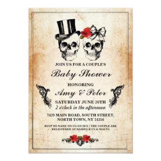Baby-Duschen-Party-Rosen-Schädel-Party-Paare Karte