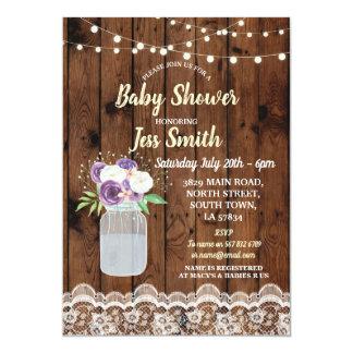 Baby-Duschen-Party-rustikales hölzernes Blumenglas Karte