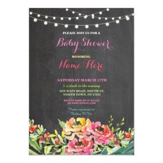 Baby-Duschen-Party-Tafel-Blumenrosa laden ein Karte