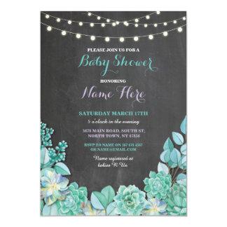 Baby-Duschen-Party-Tafel-mit Blumenaquamarines Karte