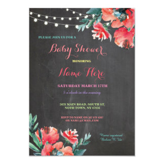 Baby-Duschen-Party-Tafel-rote mit Blumenmamma 12,7 X 17,8 Cm Einladungskarte