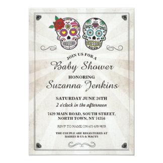 Baby-Duschen-Party-Zuckerschädel-Party laden ein Karte