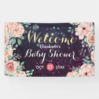 Baby-Duschen-Willkommens-Fahnen-lila mit Banner
