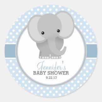 Baby-Elefant-(blaue) Babyparty Runder Aufkleber