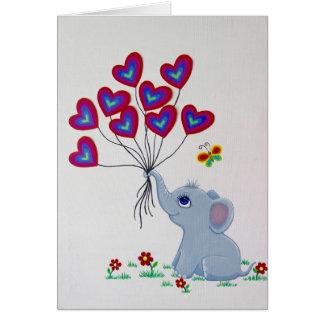 Baby-Elefant mit Herz-Ballonen Karte