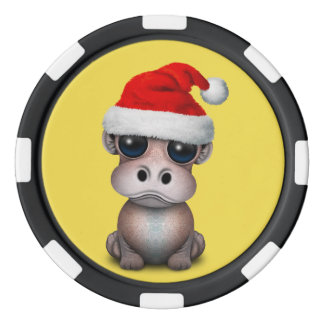 Baby-Flusspferd, das eine Weihnachtsmannmütze Poker Chips Set