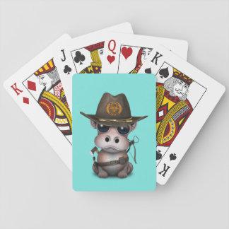 Baby-Flusspferd-Zombie-Jäger Spielkarten