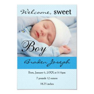 Baby-Geburts-Mitteilung des Jungen-3x5Sweet 8,9 X 12,7 Cm Einladungskarte