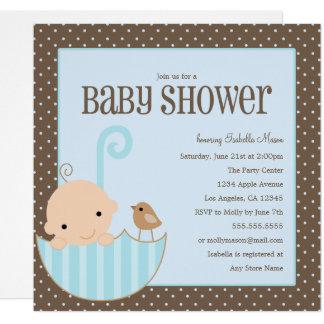 Baby im Regenschirm - blaue   Babyparty laden ein Karte