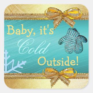 Baby, ist es kalter äußerer quadratischer aufkleber