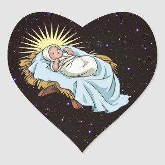 Baby Jesus in der Krippe Herz Sticker