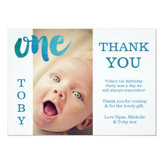 Baby-Jungen-Blau-1. Geburtstag danken Ihnen 11,4 X 15,9 Cm Einladungskarte